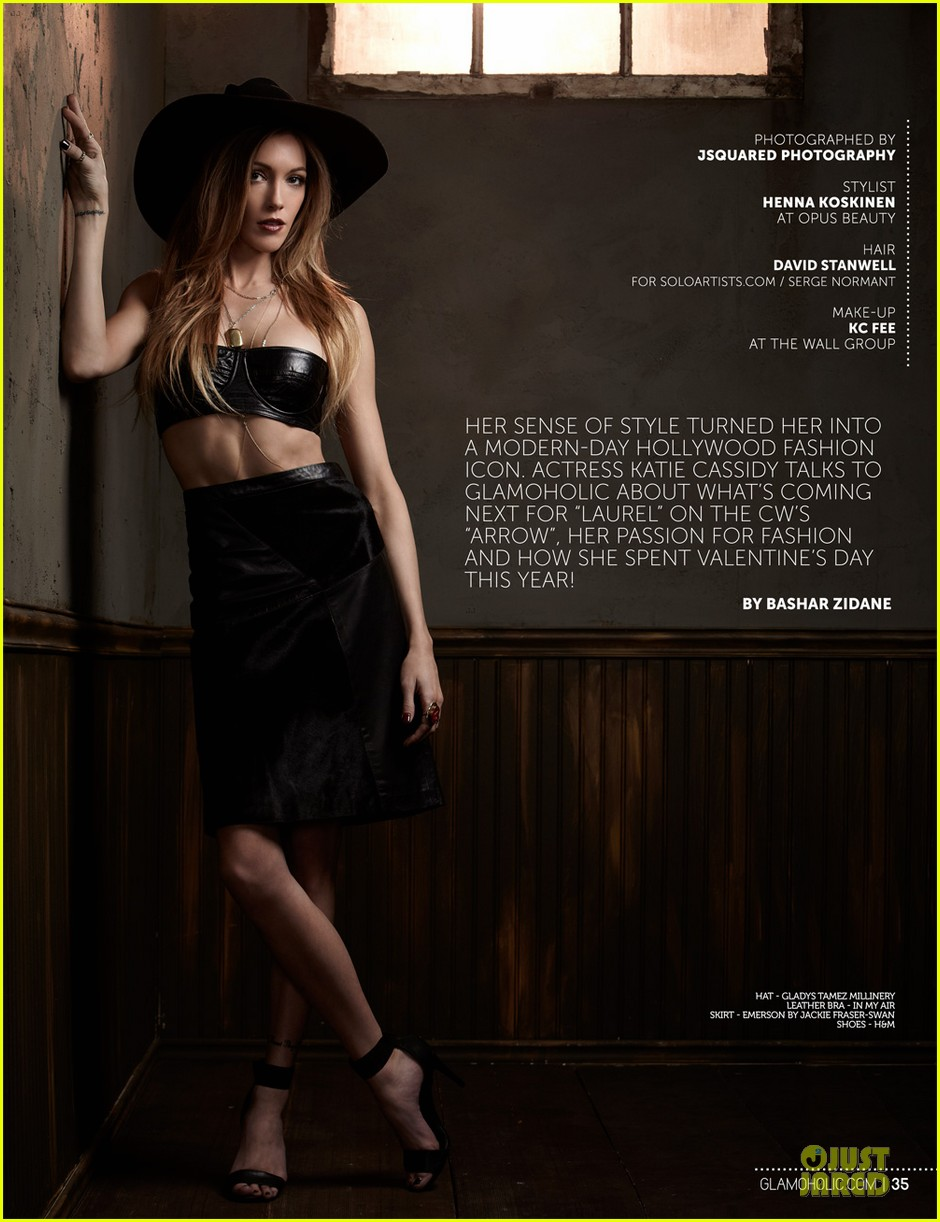 katie cassidy bares midriff for glamoholic cover 013076576