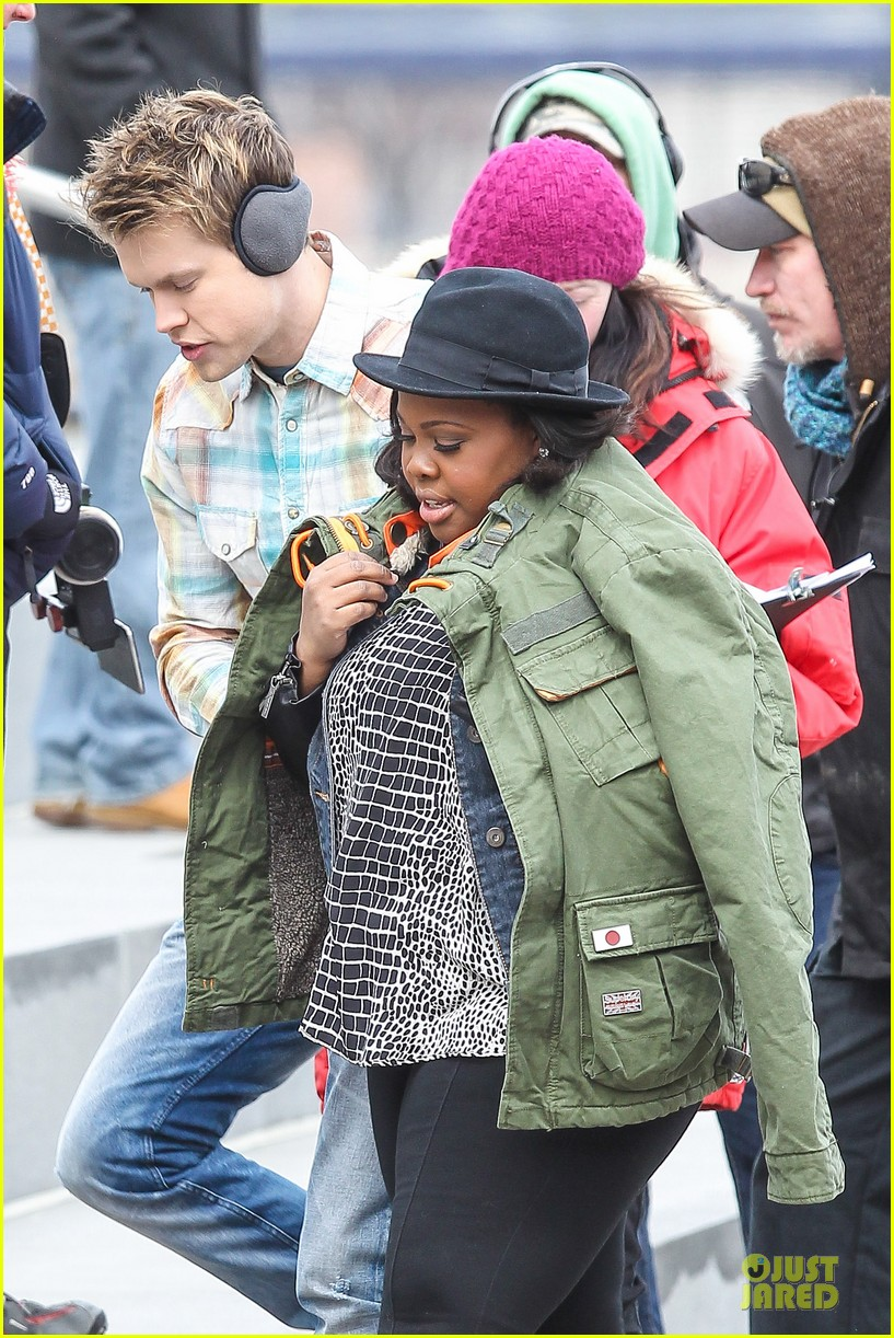 chord overstreet give amber riley jacket to stay warm 023074517