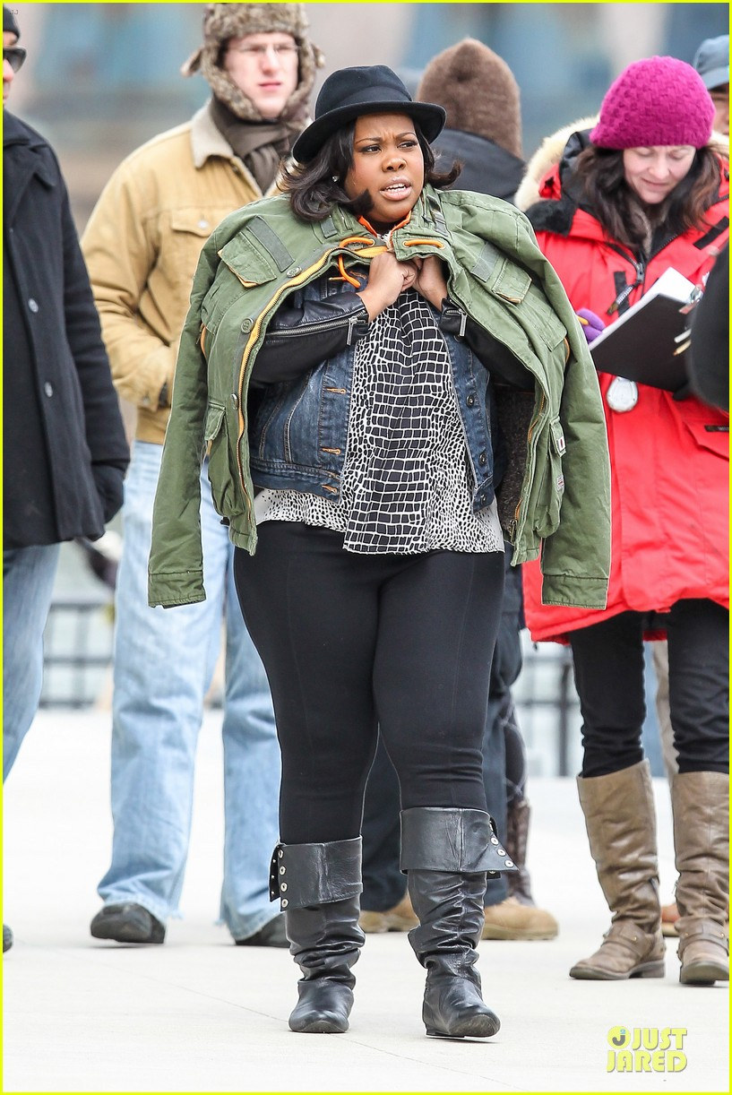 chord overstreet give amber riley jacket to stay warm 033074518