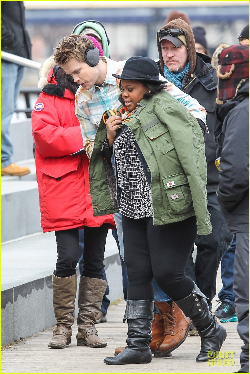 chord overstreet give amber riley jacket to stay warm 063074521