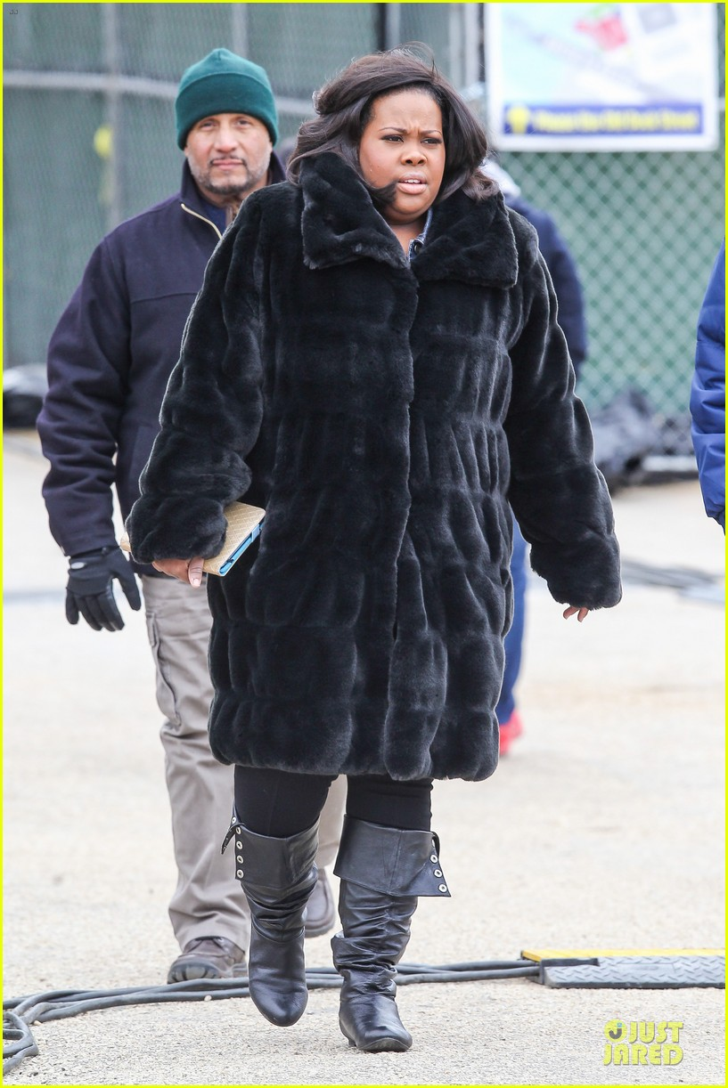 chord overstreet give amber riley jacket to stay warm 073074522