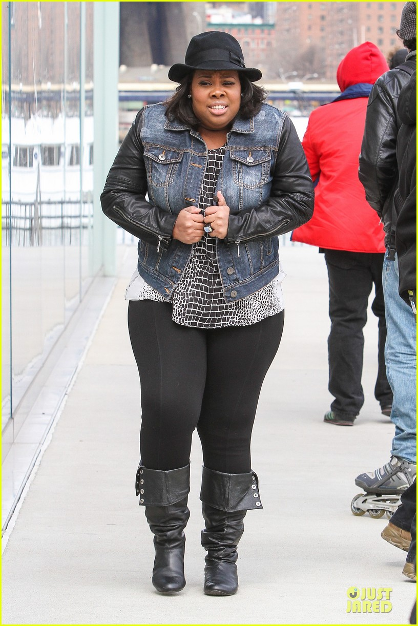 chord overstreet give amber riley jacket to stay warm 083074523