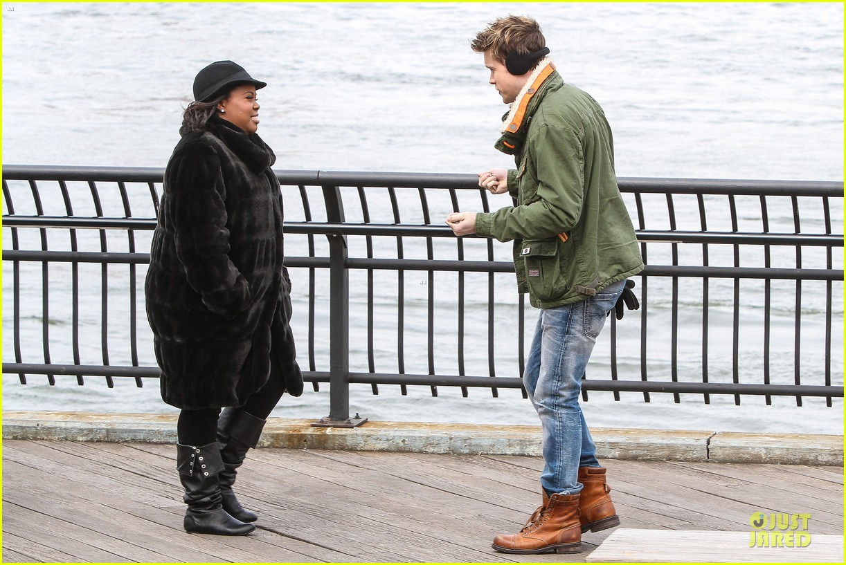 chord overstreet give amber riley jacket to stay warm 093074524