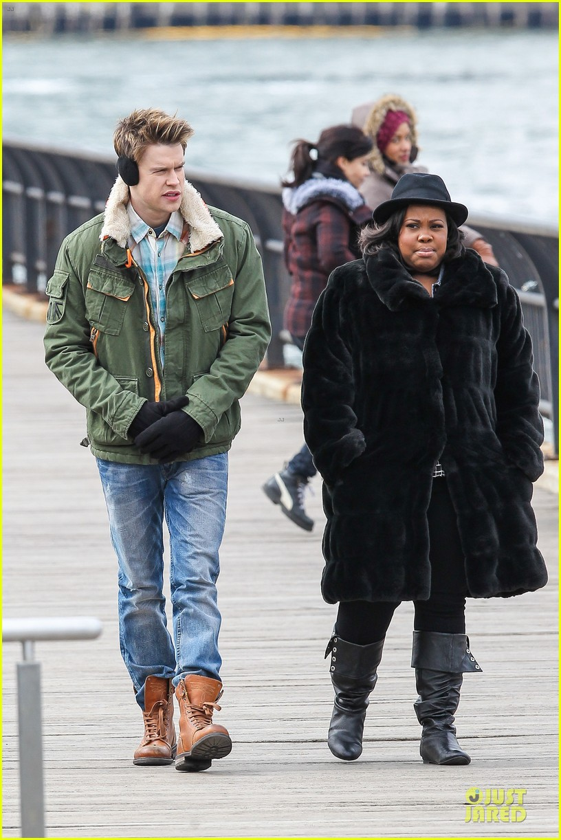 chord overstreet give amber riley jacket to stay warm 10