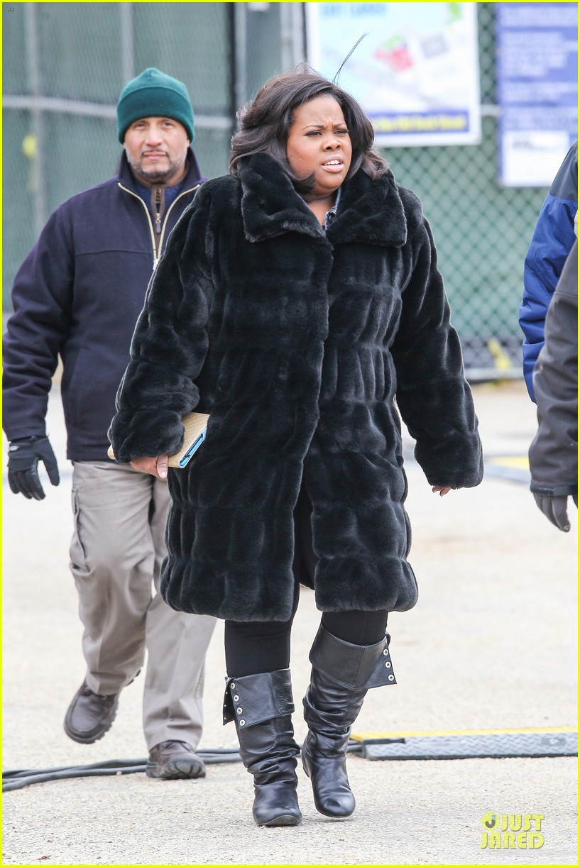 chord overstreet give amber riley jacket to stay warm 133074528