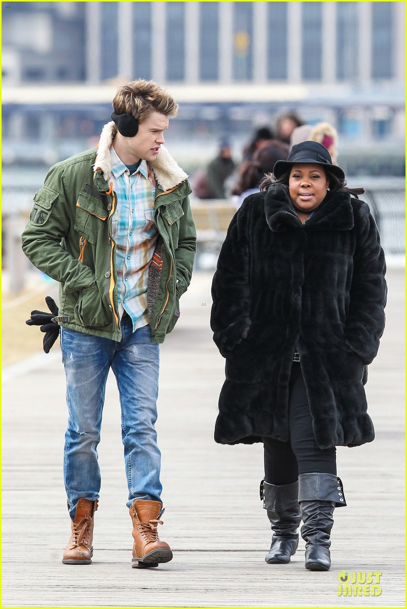 chord overstreet give amber riley jacket to stay warm 153074530