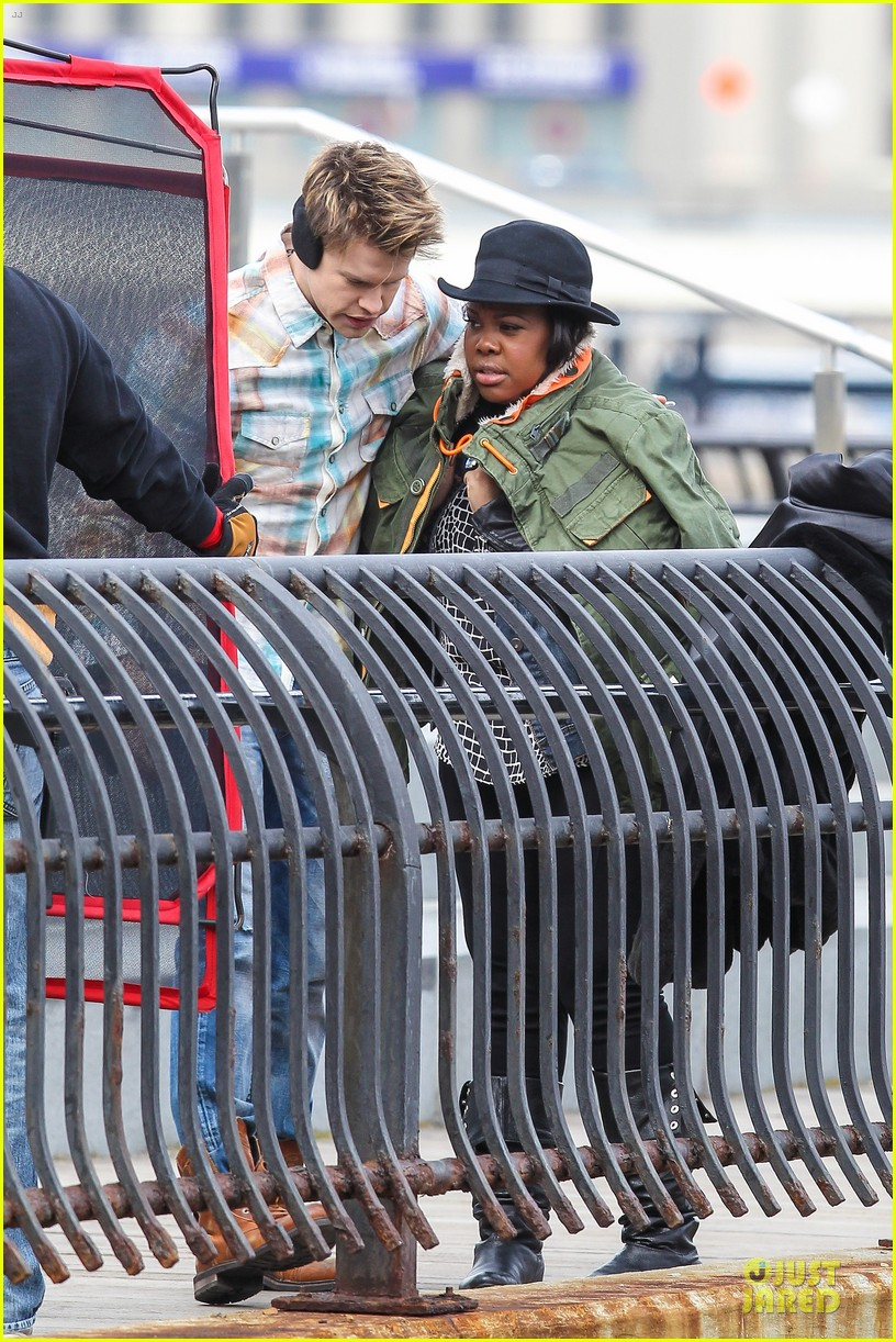 chord overstreet give amber riley jacket to stay warm 163074531