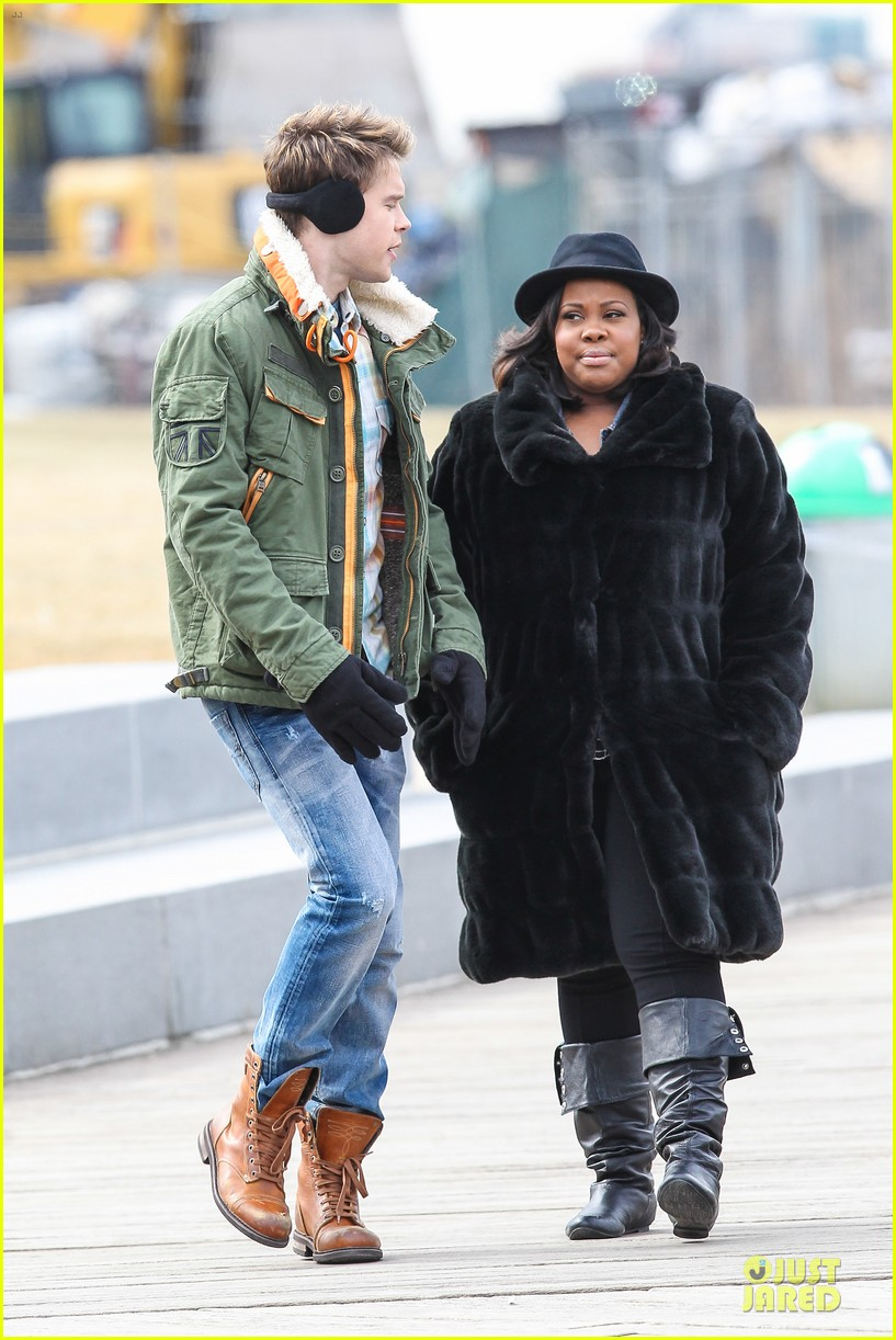 chord overstreet give amber riley jacket to stay warm 183074533
