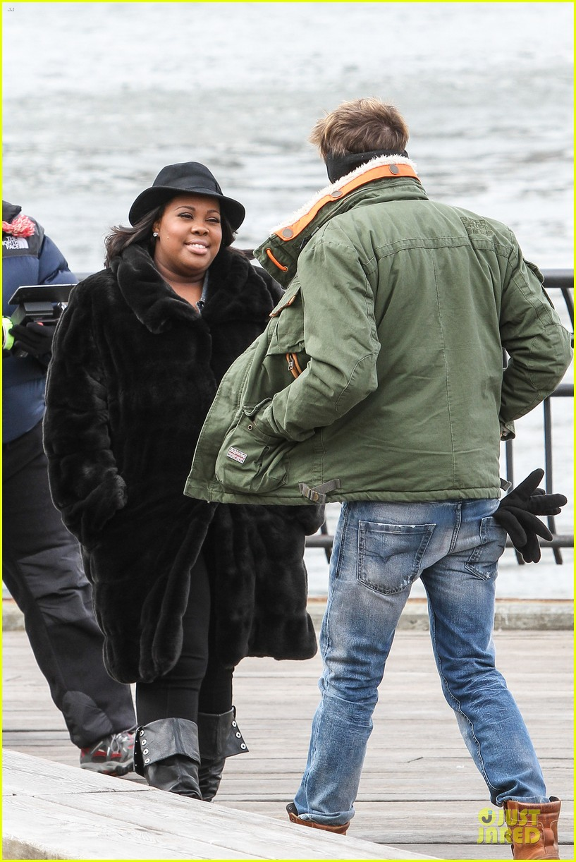 chord overstreet give amber riley jacket to stay warm 193074534