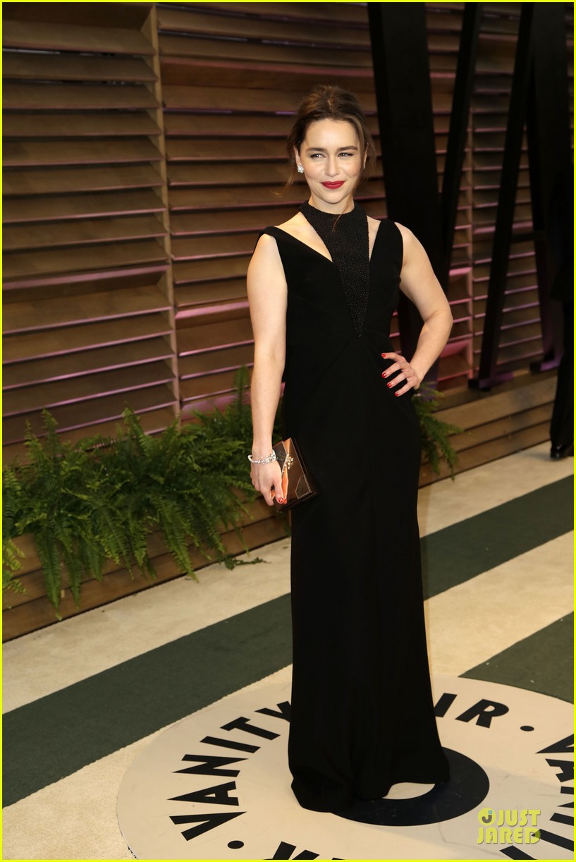 emilia clarke wows with an intricate neckline at vanity fair oscars party 2014 043064246