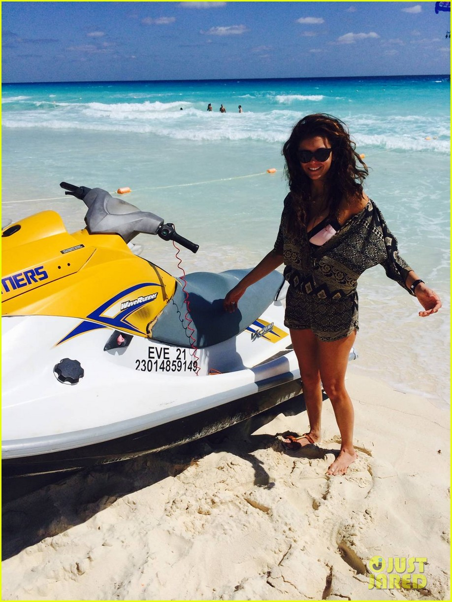 nina dobrev wears chic cover up over her bikini on cancun vacation 053067213