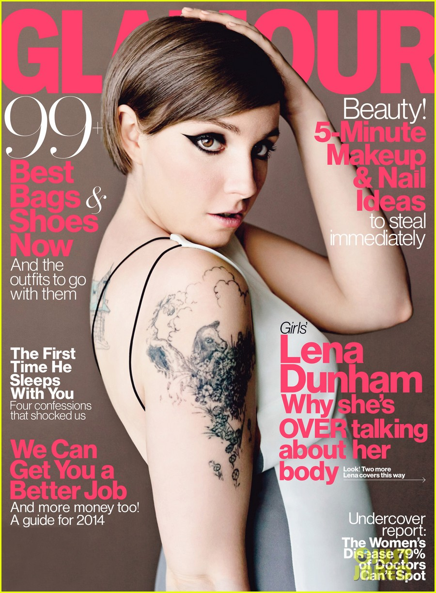 lena dunham is all about her tattoos for glamour april 2014 013069753