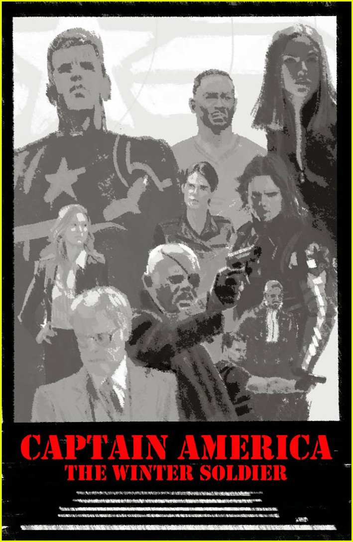 chris evans scarlett johansson go retro captain america poster 03