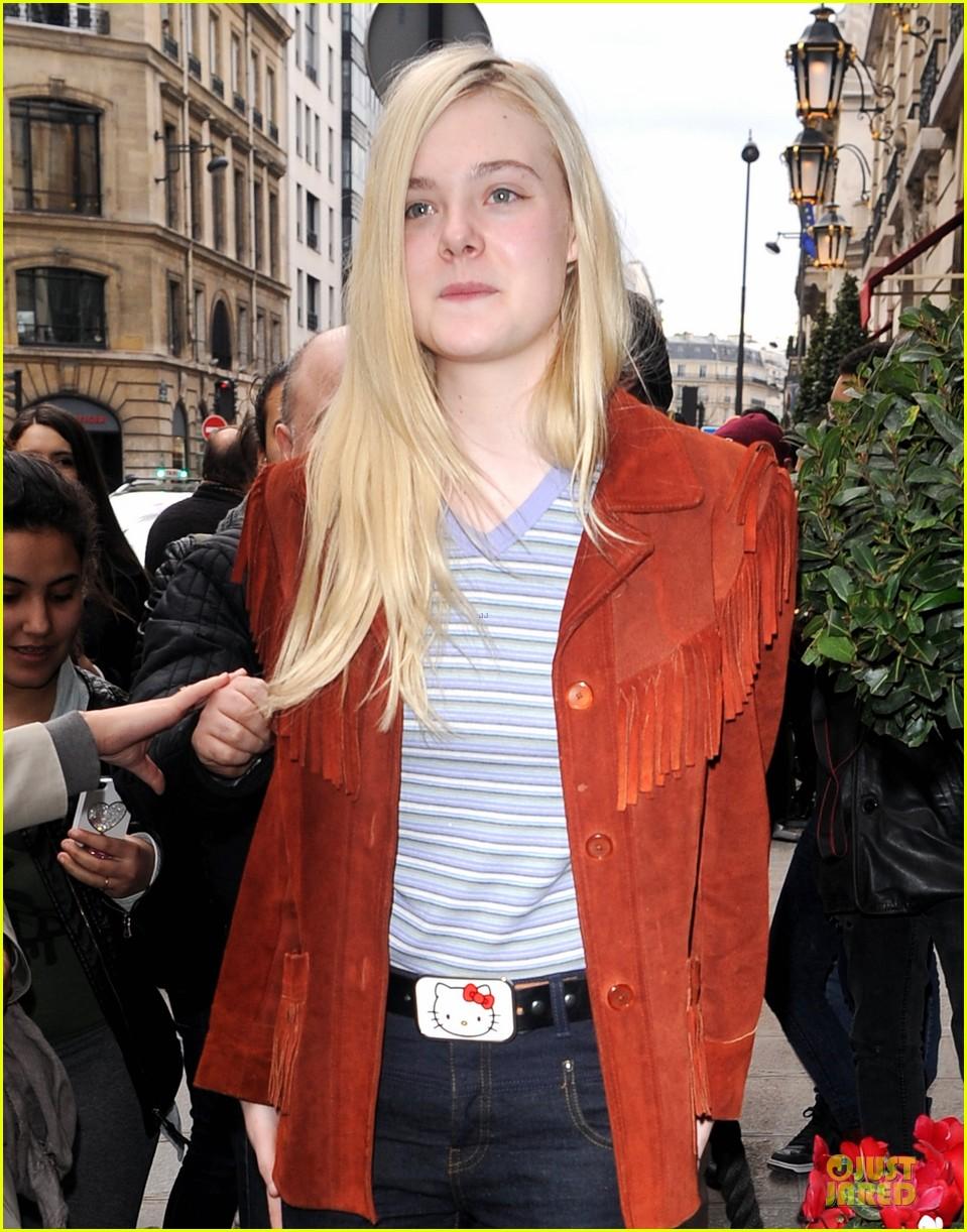 elle fanning makes a fringe fashion statement in france 123066108
