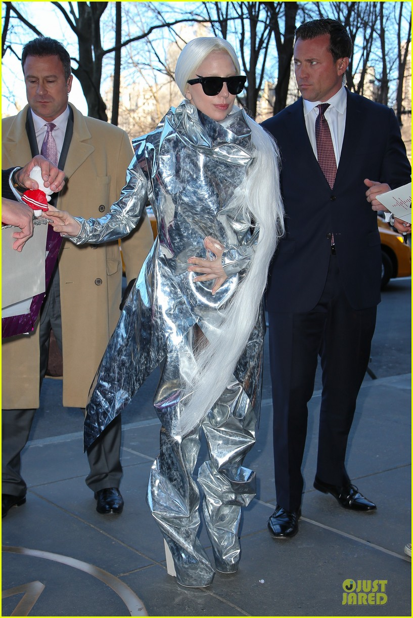 lady gaga shines in silver foil outfit 053078012