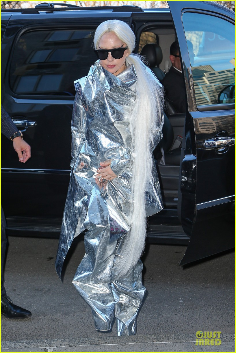 lady gaga shines in silver foil outfit 063078013