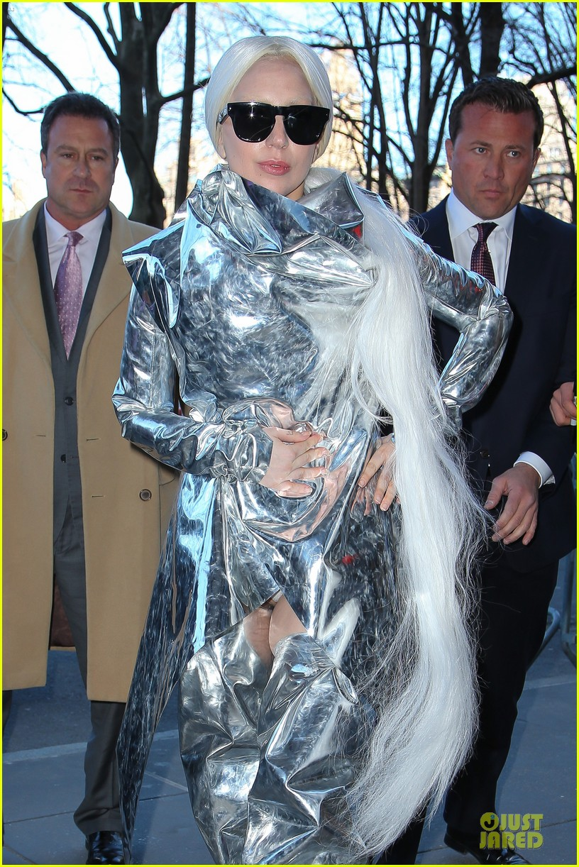 lady gaga shines in silver foil outfit 093078016