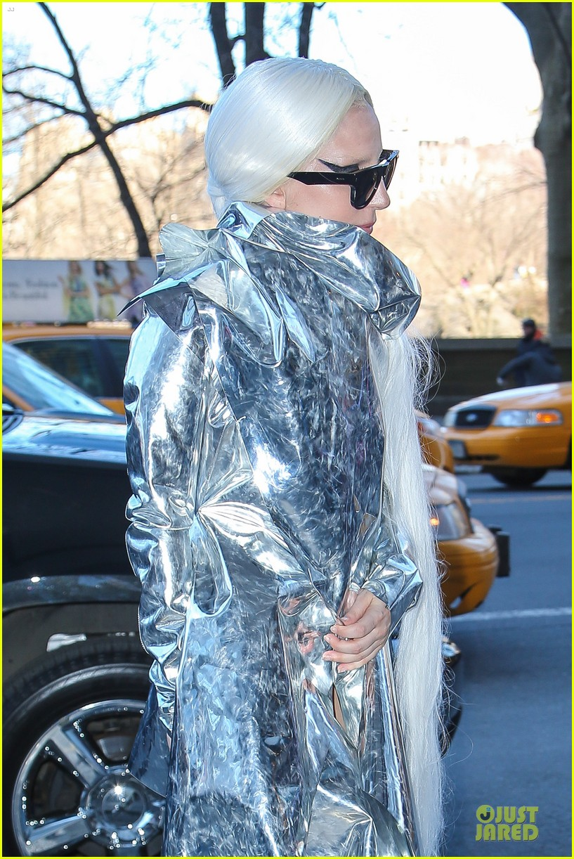 lady gaga shines in silver foil outfit 133078020