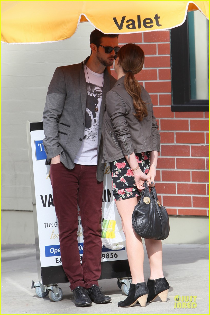 ashley greene paul khoury go in for a kiss after lunch 033066329
