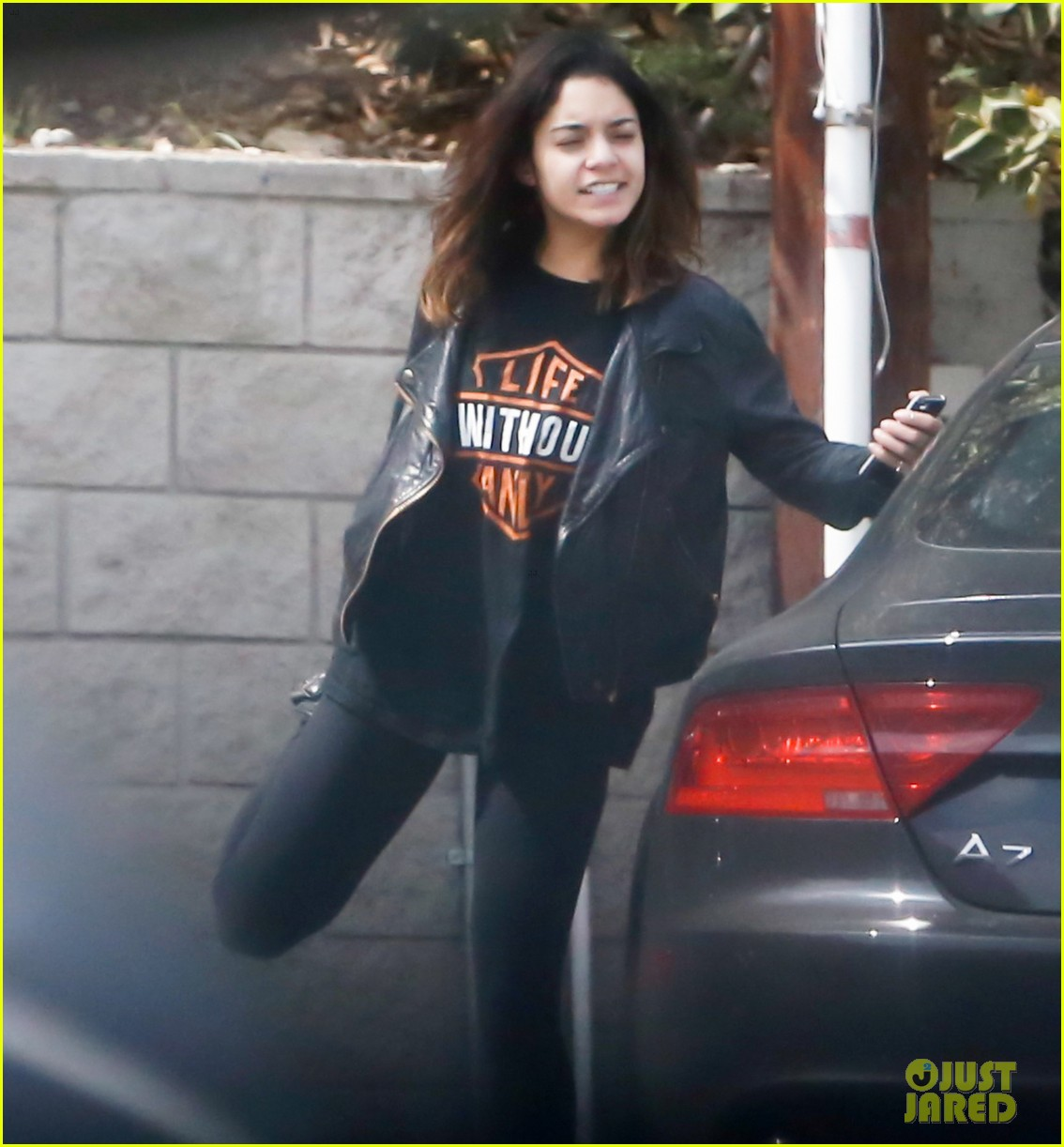 vanessa hudgens stretches out in her harley davison gear 053076710