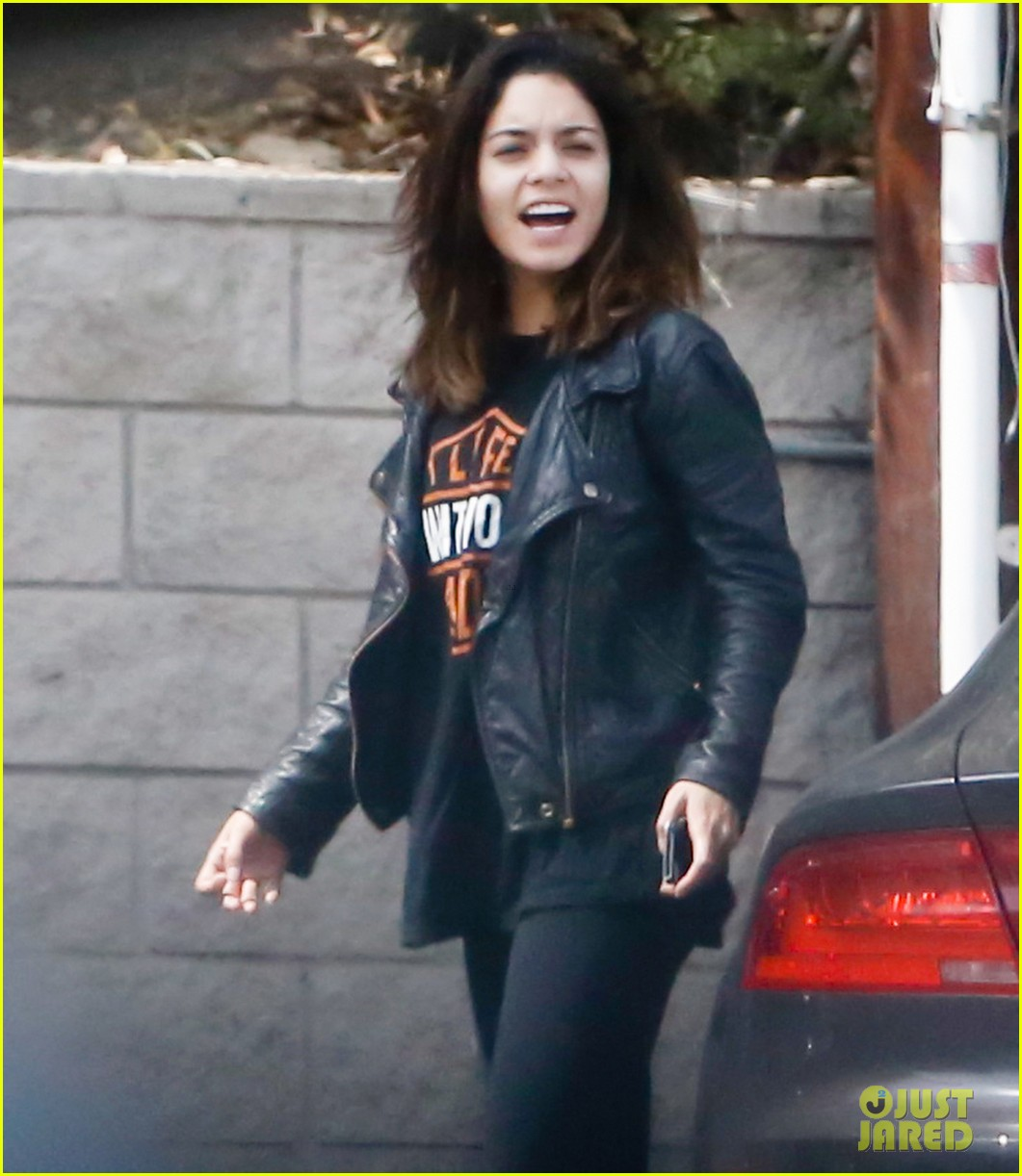 vanessa hudgens stretches out in her harley davison gear 063076711