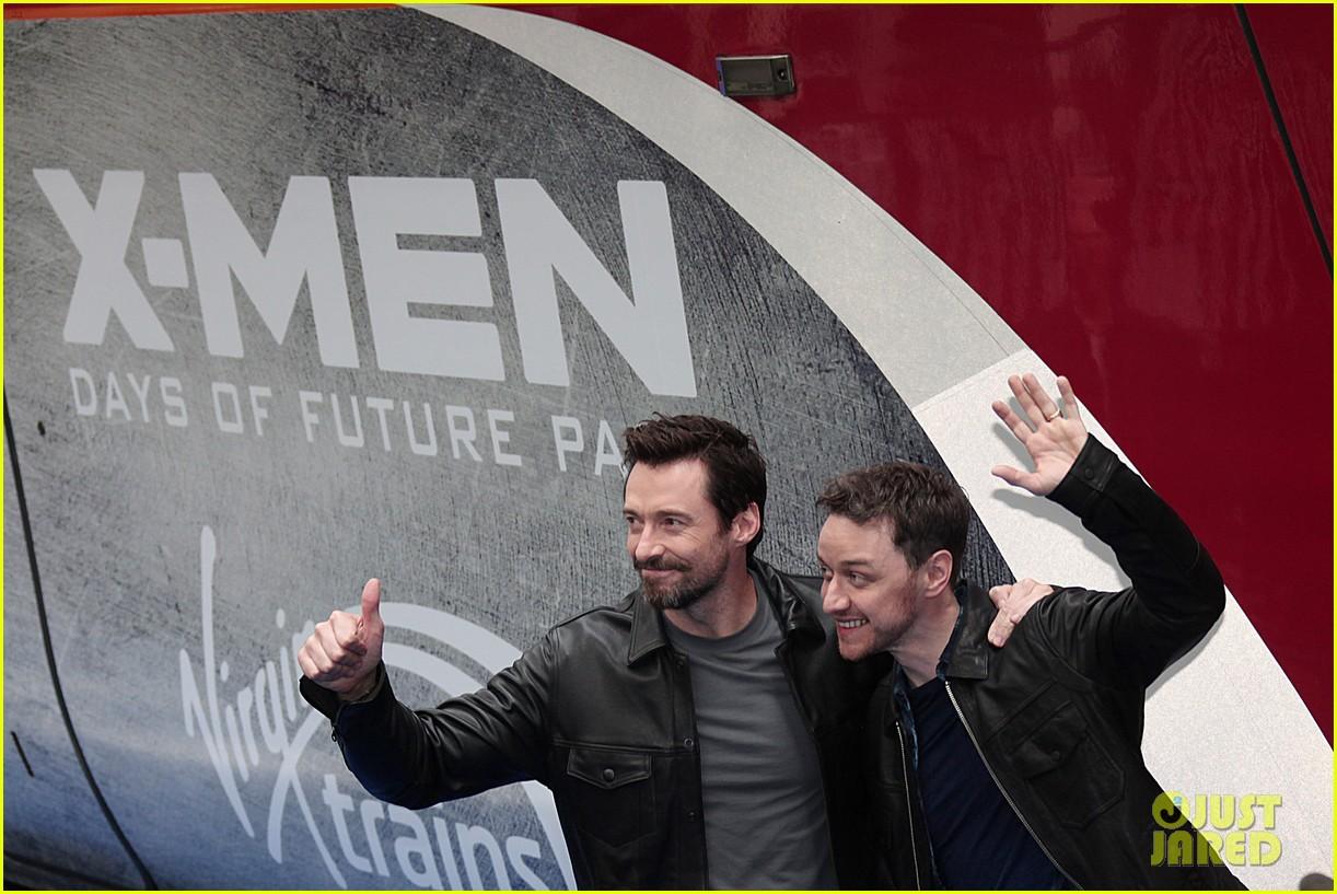 hugh jackman james mcavoy embrace bromance at x men days of future past train unveiling 07