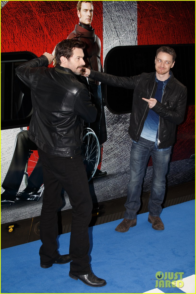 hugh jackman james mcavoy embrace bromance at x men days of future past train unveiling 083082112