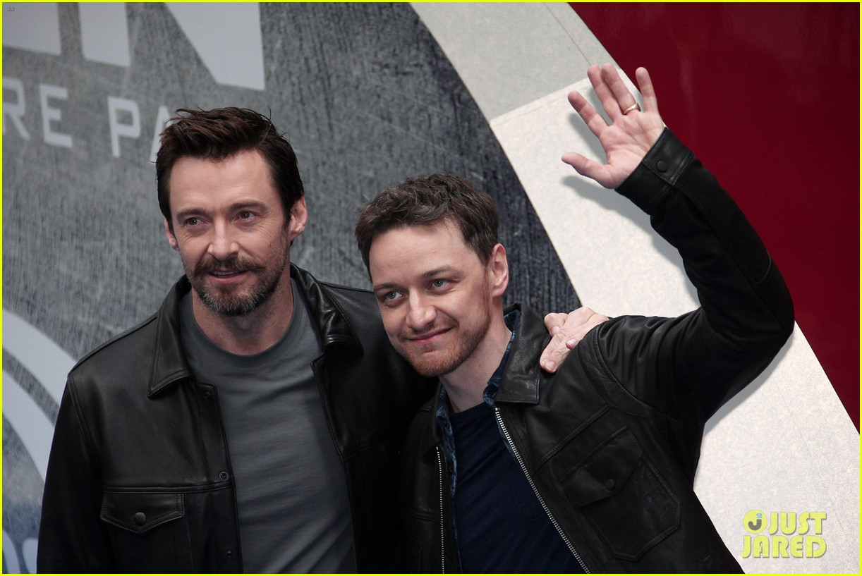 hugh jackman james mcavoy embrace bromance at x men days of future past train unveiling 103082114