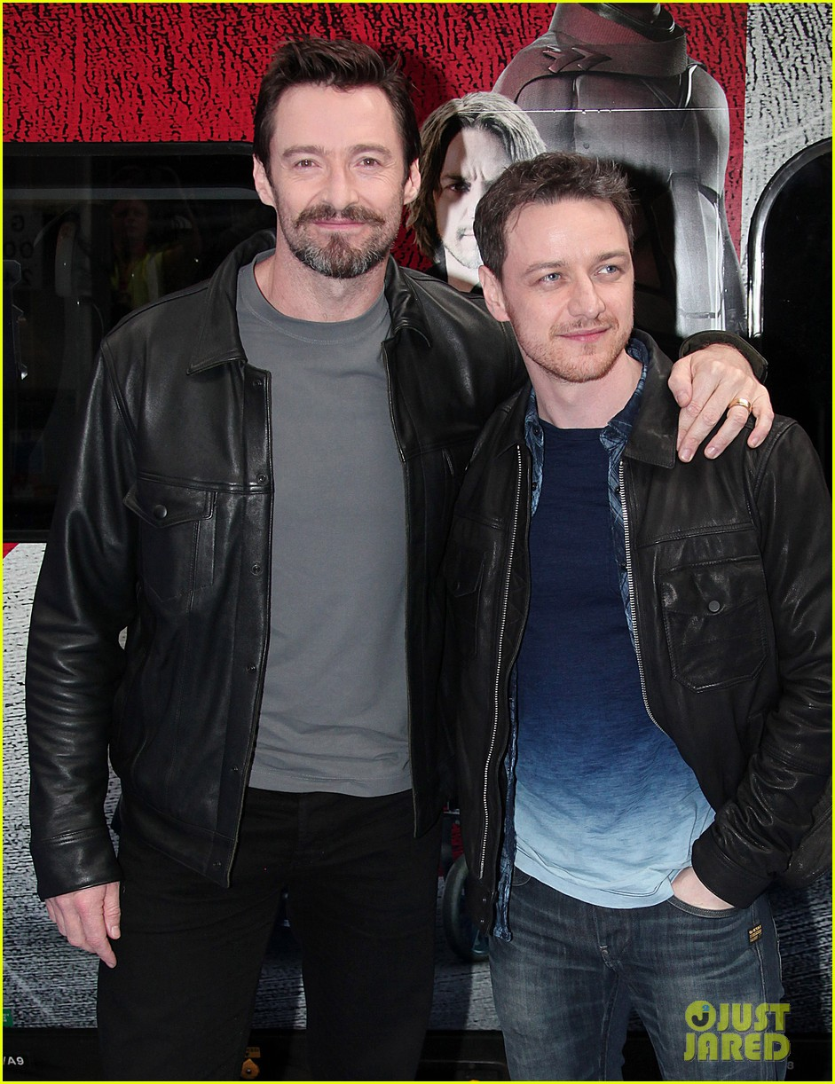 hugh jackman james mcavoy embrace bromance at x men days of future past train unveiling 113082115