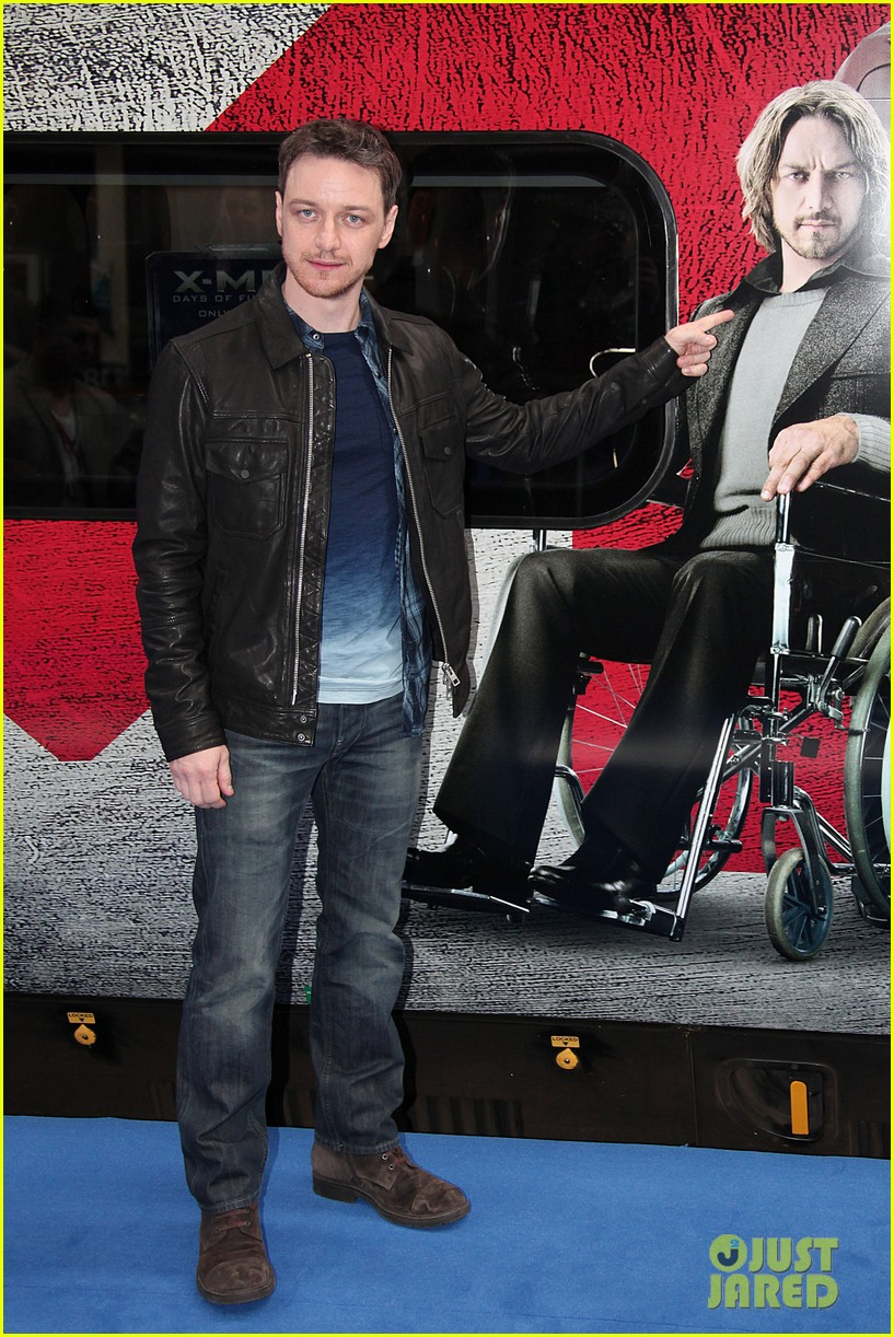 hugh jackman james mcavoy embrace bromance at x men days of future past train unveiling 12