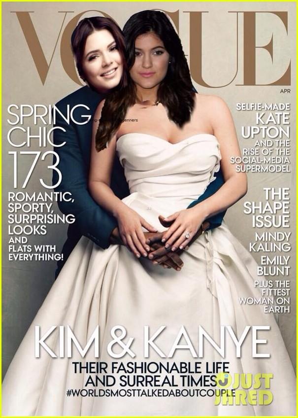 kendall kylie jenner spoof kim kardashian kanye west vogue cover 013078902