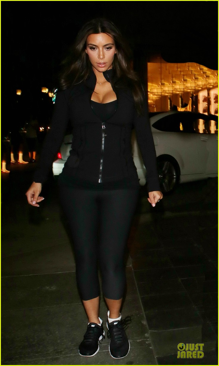 kim kardashian cleavage for soulcycle workout 143069635