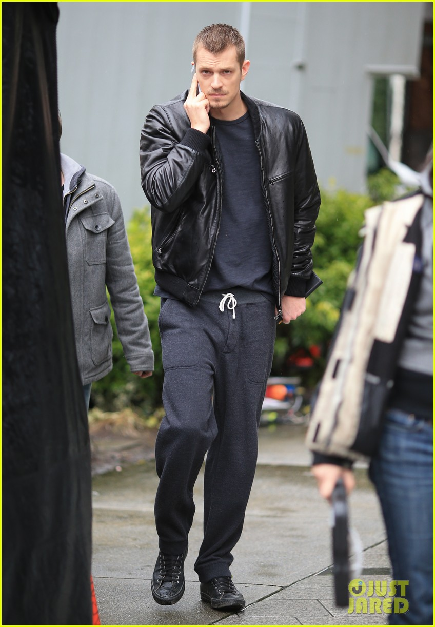 joel kinnaman looks leather jacket cool on the killing set 013067857