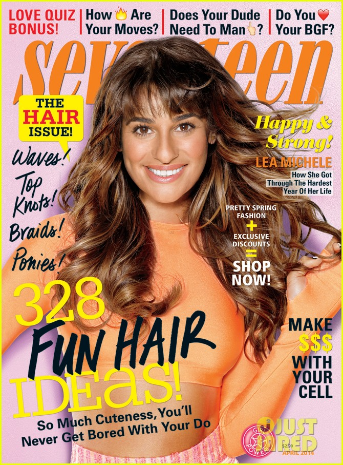 lea michele shows toned torso for seventeen april 2014 013065878