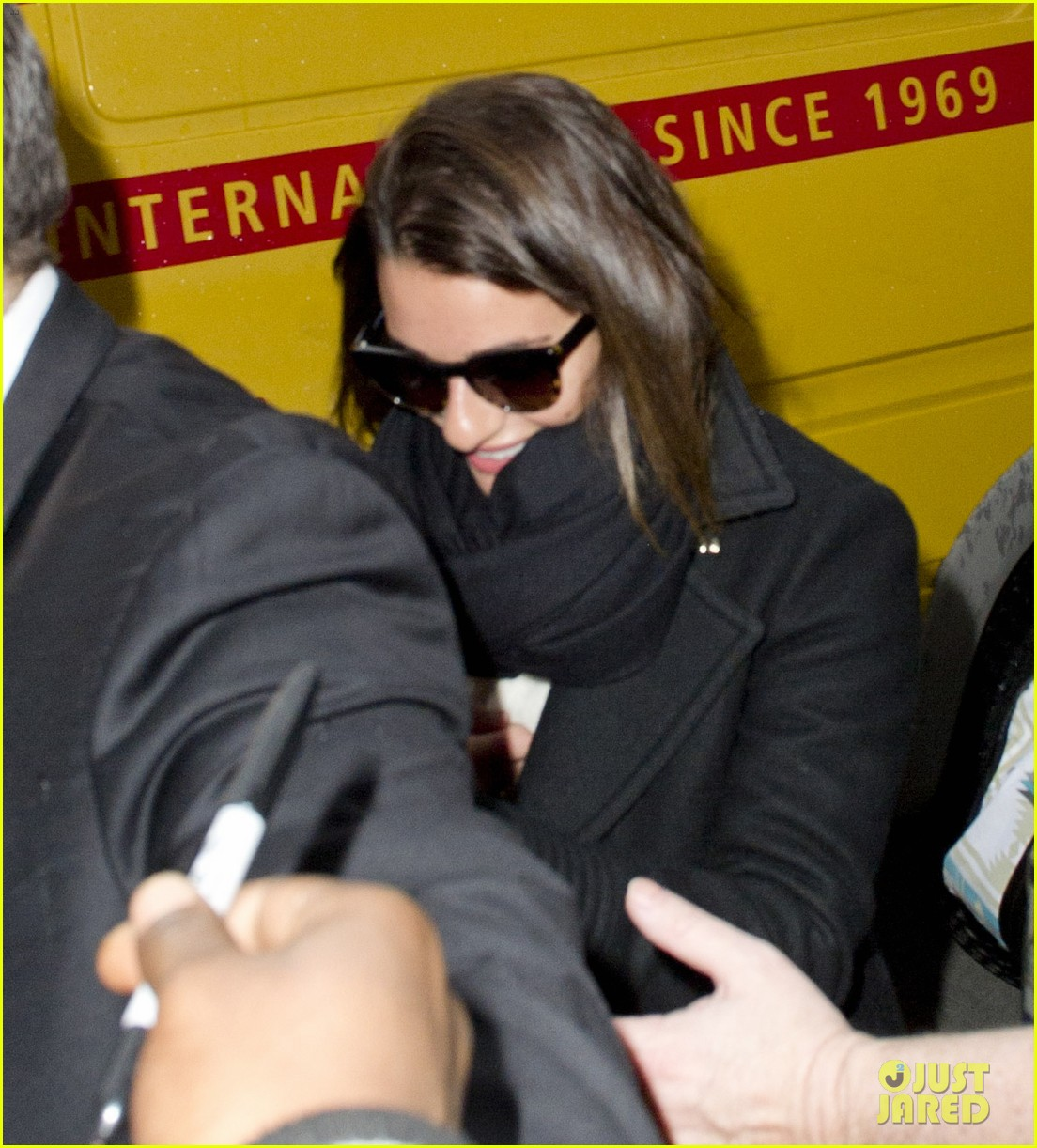 lea michele chord overstreet arrive in new york 04