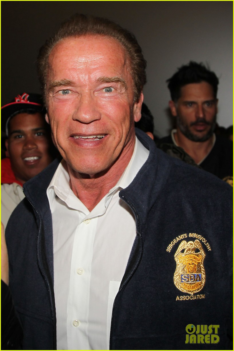 joe manganiello arnold schwarzenegger surprise nyc law enforcement 023077422