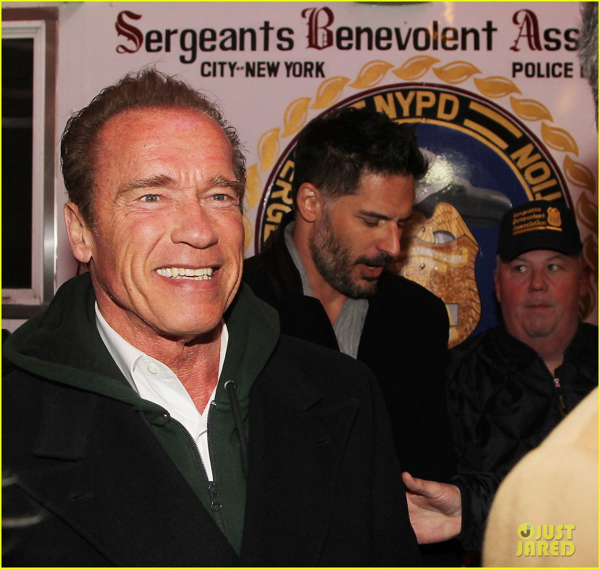 joe manganiello arnold schwarzenegger surprise nyc law enforcement 193077439