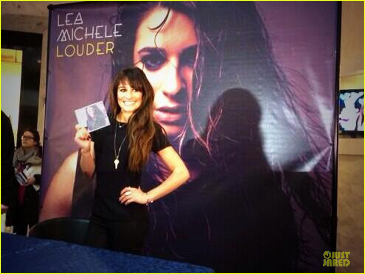 lea michele wears key around her neck at louder album signing 053065515