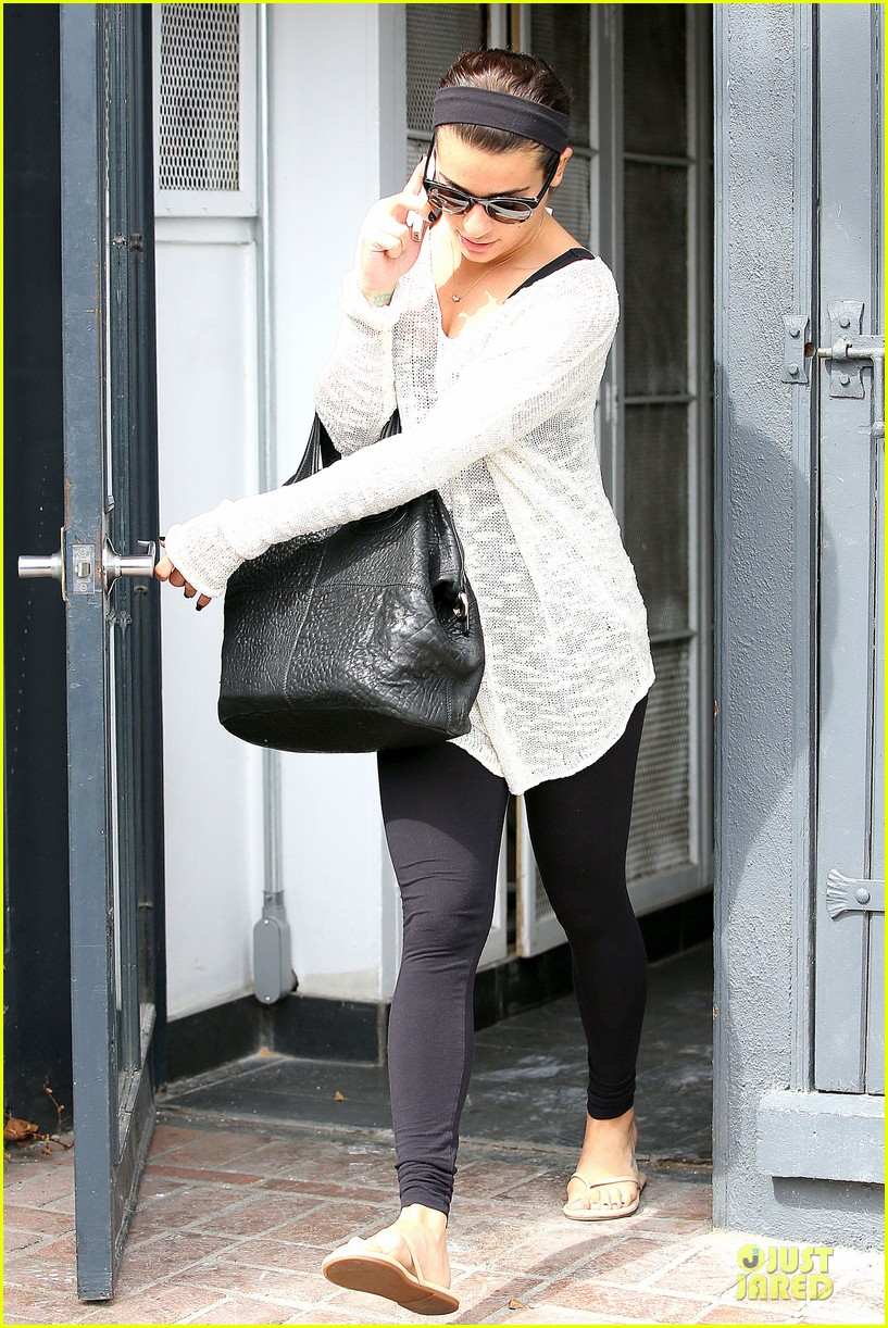 lea michele rocks black nails before meeting fans in la 033068156