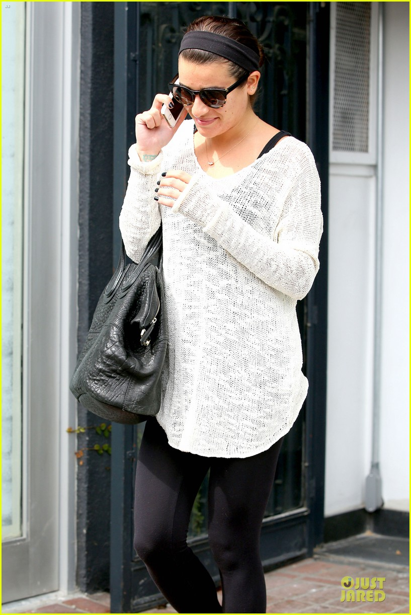 lea michele rocks black nails before meeting fans in la 043068157