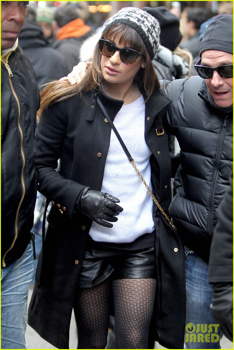 lea michele switches outfits around glee nyc 043071435