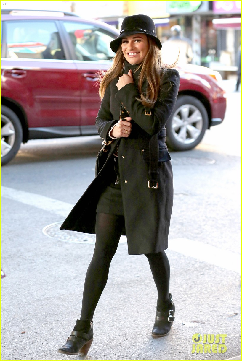 lea michele switches outfits around glee nyc 053071436
