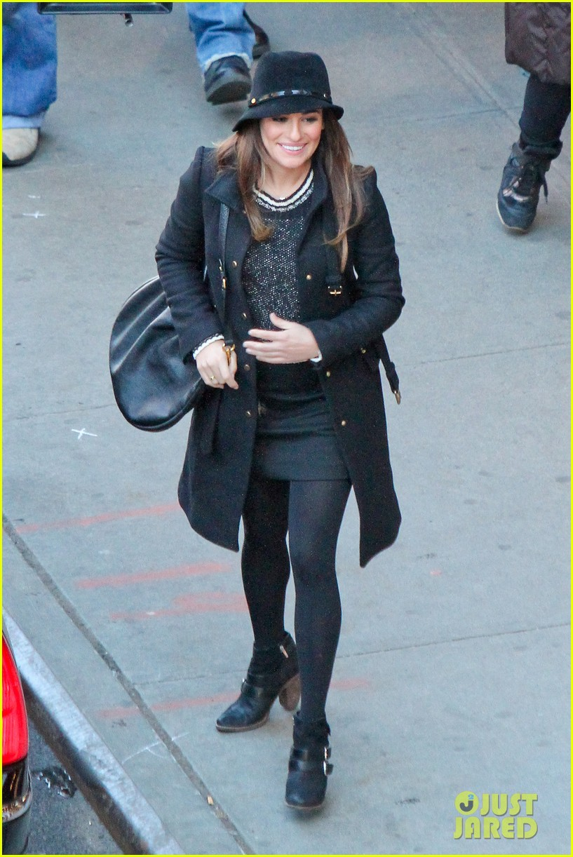 lea michele switches outfits around glee nyc 063071437