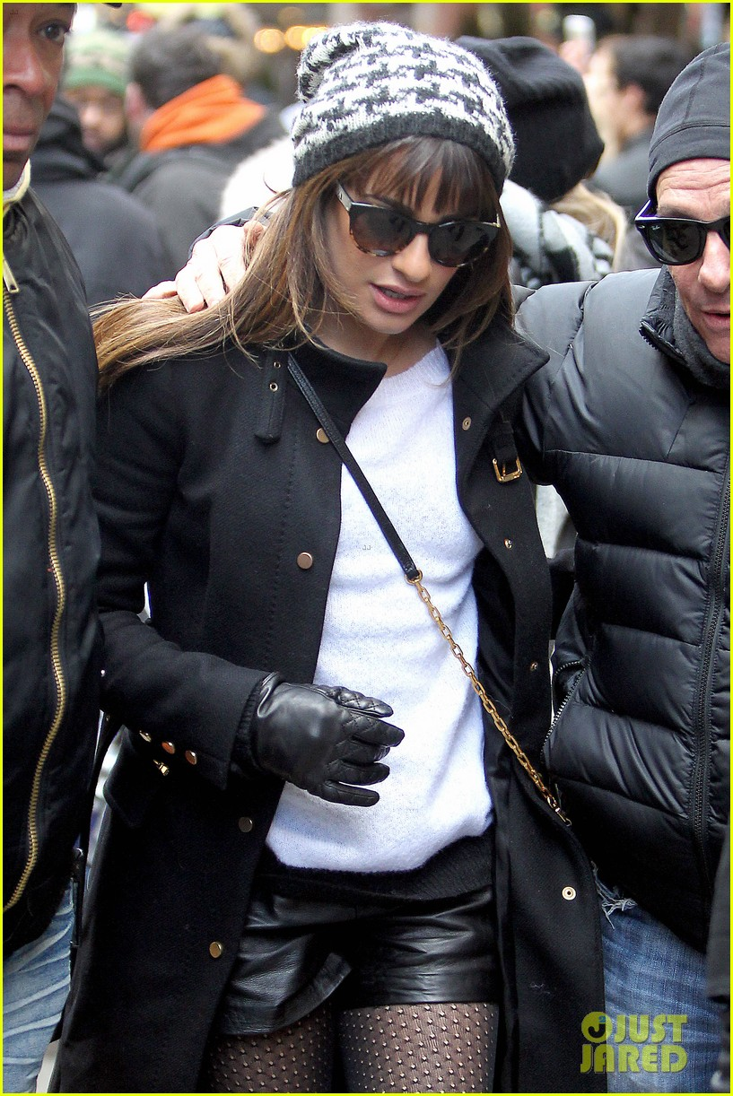 lea michele switches outfits around glee nyc 083071439