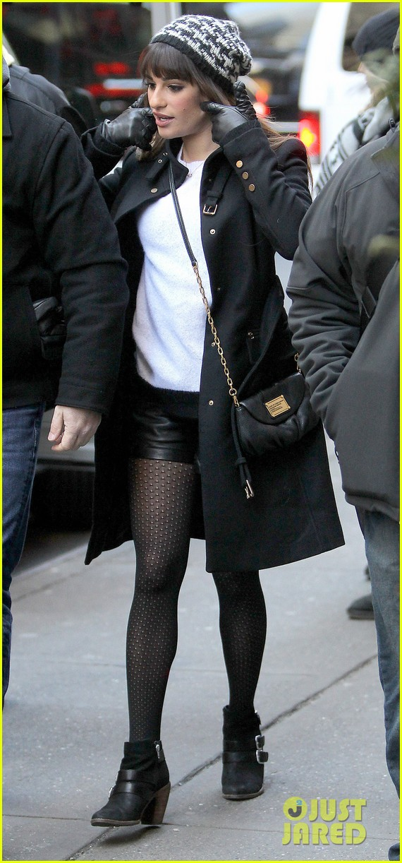 lea michele switches outfits around glee nyc 113071442