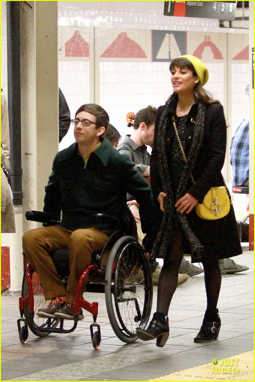 lea michele kevin mchale take glee underground in nyc 123072564