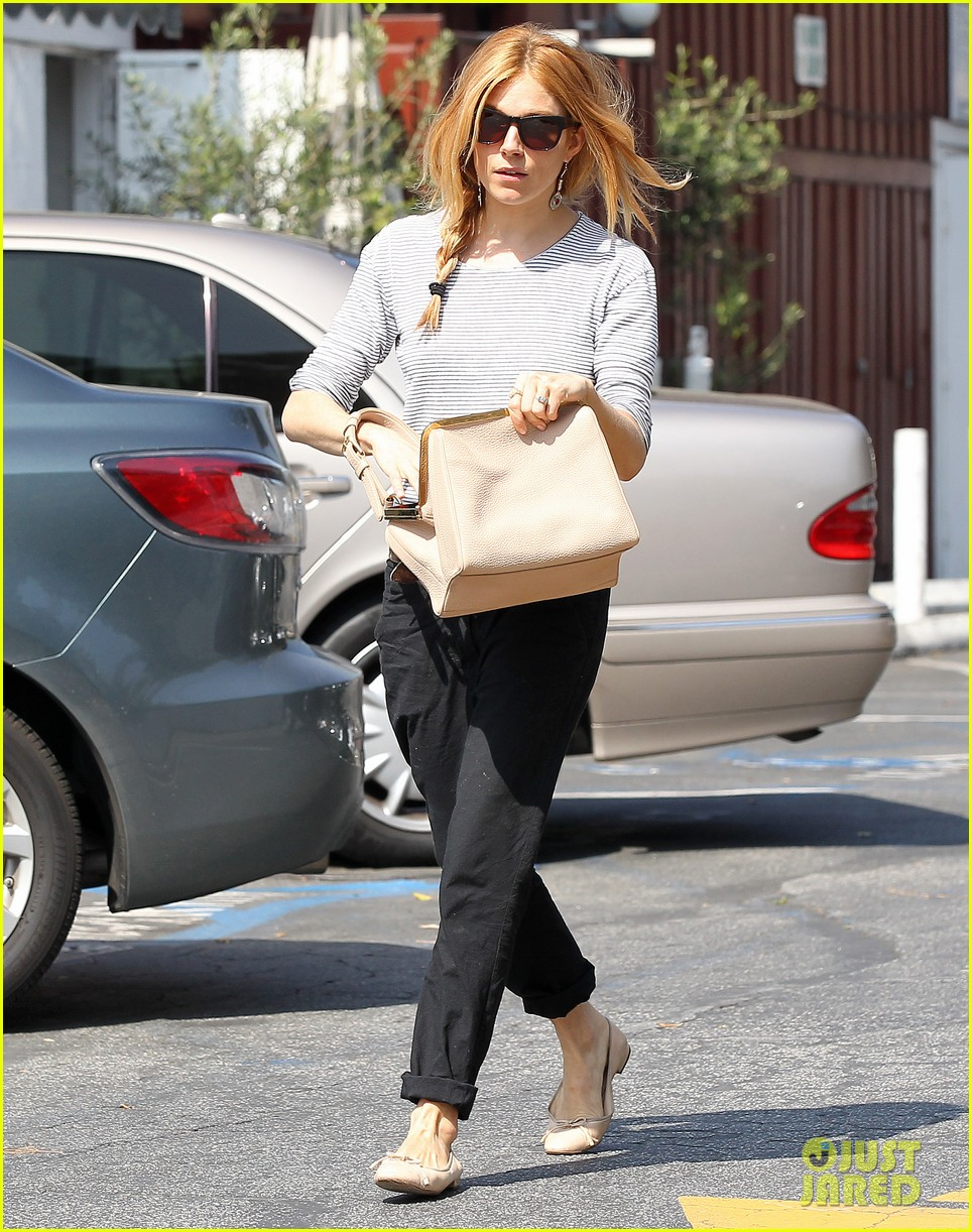 sienna miller sports red hair for busy beverly hills afternoon 01