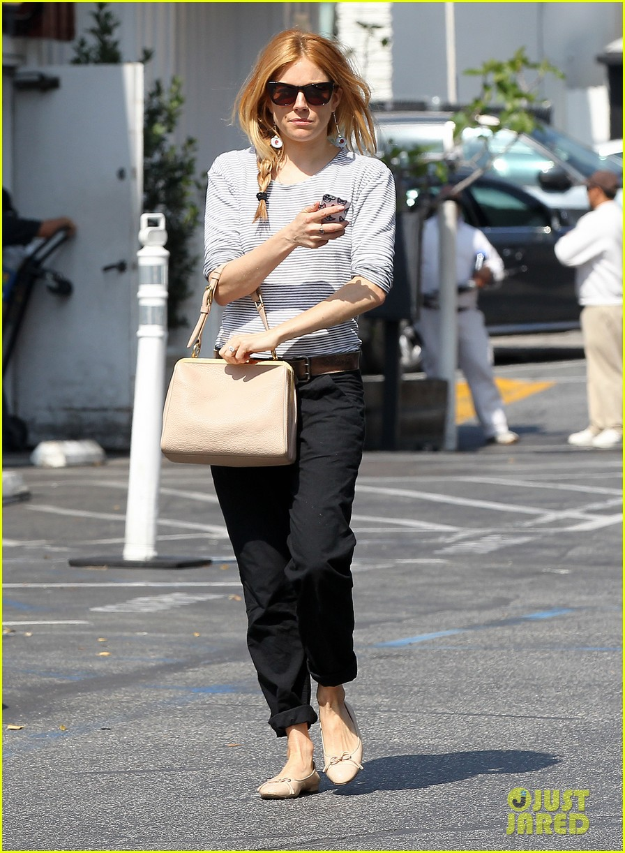 sienna miller sports red hair for busy beverly hills afternoon 063067745
