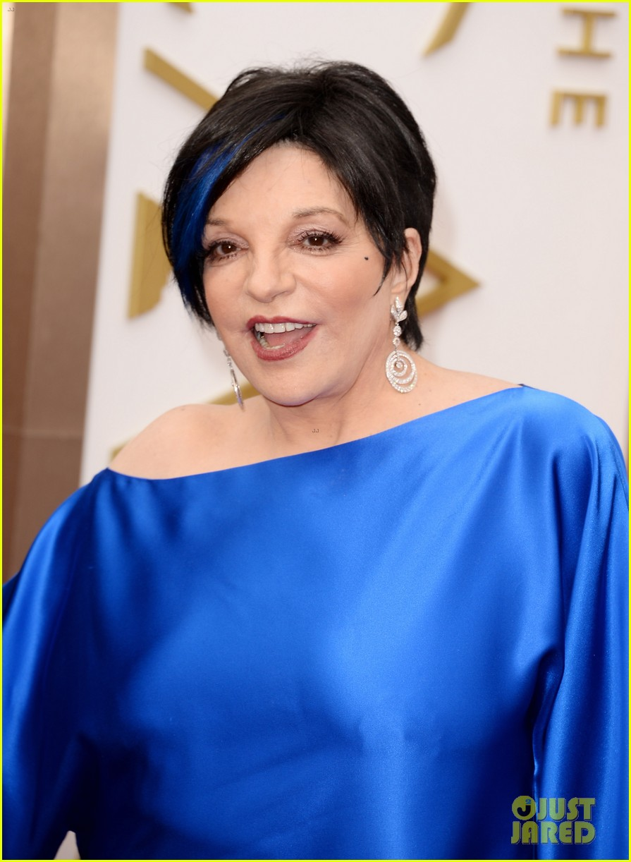 liza minnelli wears blue streak in hair at oscars 2014 023064040