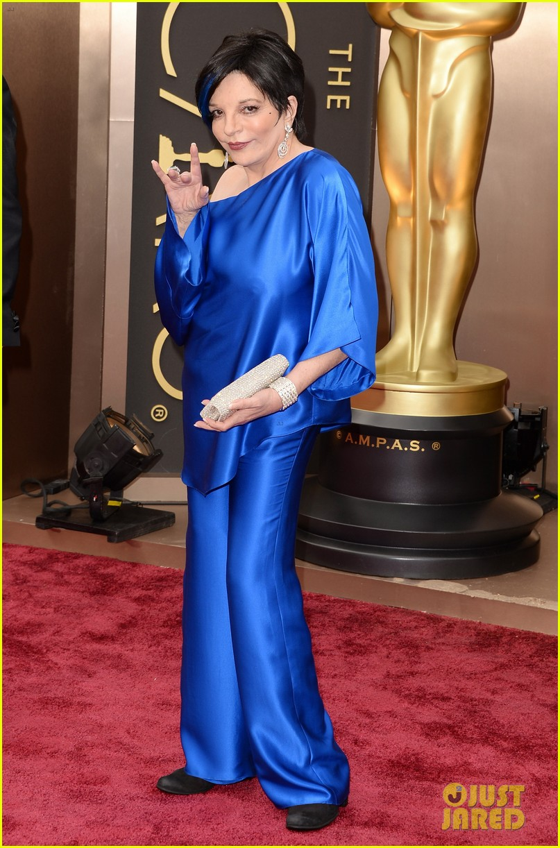 liza minnelli wears blue streak in hair at oscars 2014 033064041
